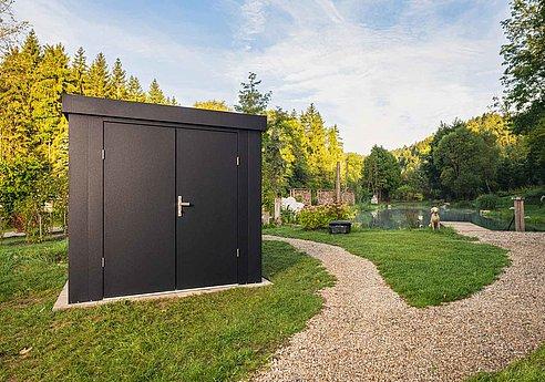 Cabane de jardin, cabane de jardin, hangar à matériel, Super-Clôture, acier, tôle en acier, design, anthracite