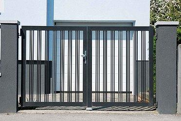 Super-Clôture, Wagner, France, portail à double battant, portail, aluminium, classique, clôture barres rondes,