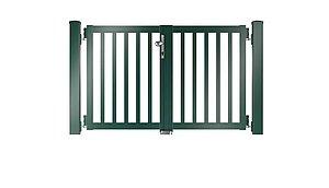 Clôture à lattis - portail de jardin couleur vert mousse - RAL 6005