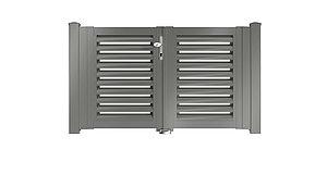 Clôture à lamelles - portail de jardin couleur aluminium gris - RAL 9007