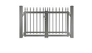 Clôture à barres - portail de jardin couleur aluminium gris - RAL 9007