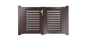 Clôture à lamelles - portail de jardin couleur marron chocolat - RAL 8017