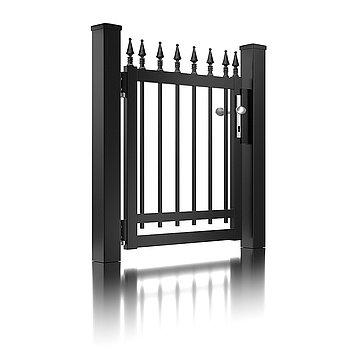 Super-Clôture, Gutenberg, France, clôture fer forgé, clôture, finition martelée, gris, portail à battants, clôture alu, décor, porte piétonne, portail, classique