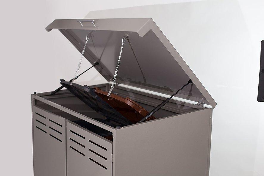 coffre multifonctions moderne en aluminium couleur grise pour deux poubelles avec couvercle ouvert