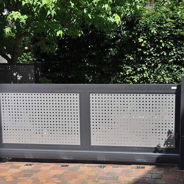 Super-Clôture, Da Vinci, France, aluminium, clôture en aluminium, tôle perforée, portail de jardin, portails, portail d'entrée,
