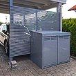 Coffre multifonctions gris devant un abri auto moderne