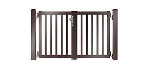 Clôture à lattis - portail de jardin couleur marron chocolat - RAL 8017
