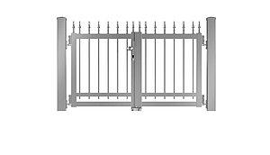 Clôture à barres - portail de jardin couleur aluminium blanc - RAL 9006