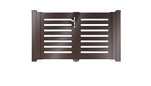Clôture à lattes - portail de jardin couleur marron chocolat - RAL 8017