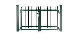 Clôture à barres - portail de jardin couleur vert mousse - RAL 6005