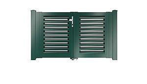 Clôture à lamelles - portail de jardin couleur vert mousse - RAL 6005