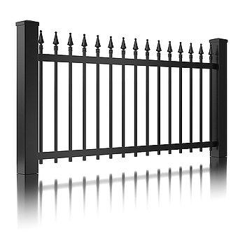 Super-Clôture, Gutenberg, France, clôture fer forgé, clôture, finition martelée, gris, portail à battants, clôture alu, décor, clôtures, classique
