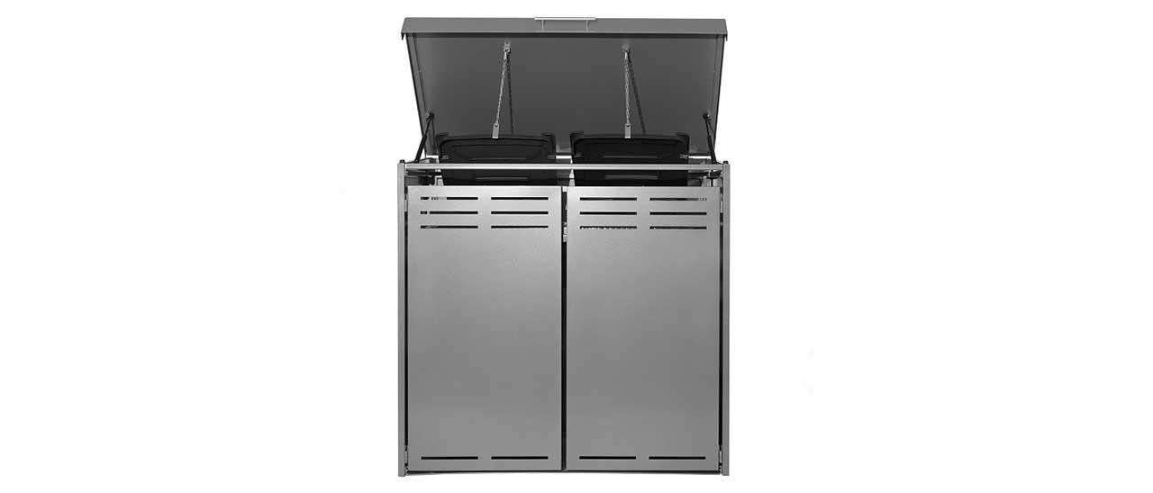 Coffre multifonctions gris en aluminium pour deux poubelles avec couvercle ouvert