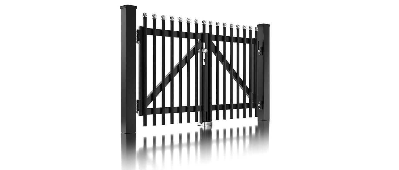 Portail à double battant pour clôture à palissade couleur anthracite avec embouts ronds