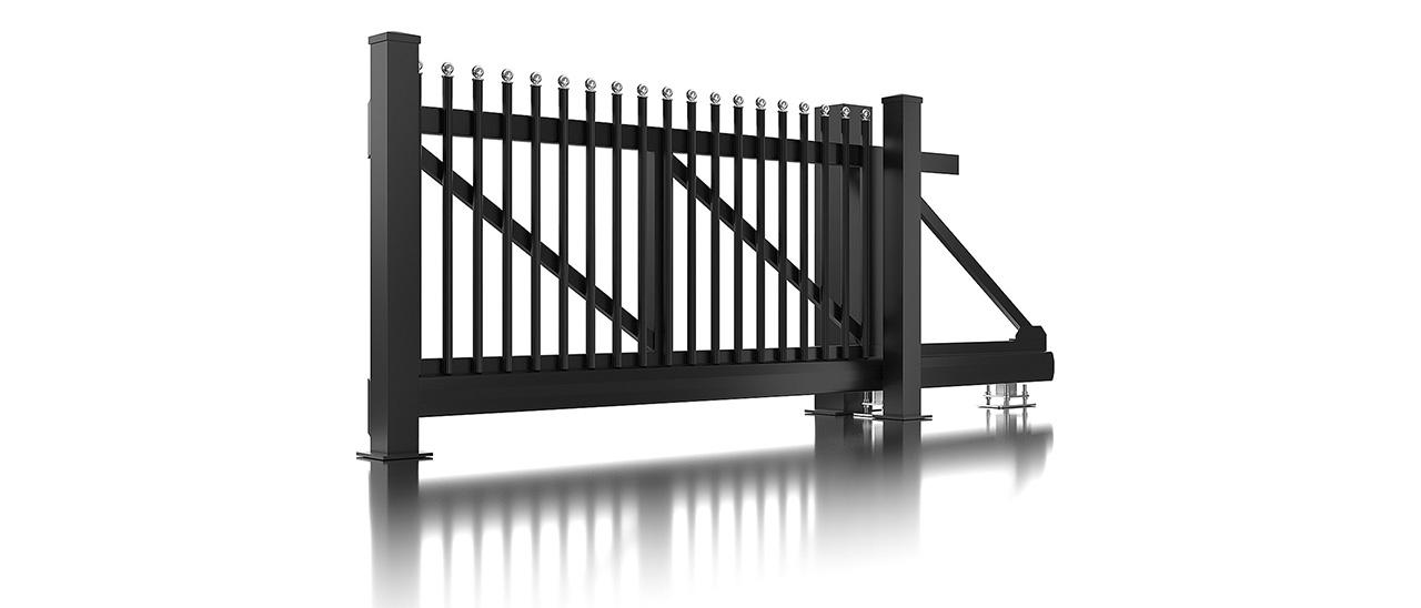 Portail coulissant en aluminium pour clôture à palissade couleur anthracite avec embouts ronds
