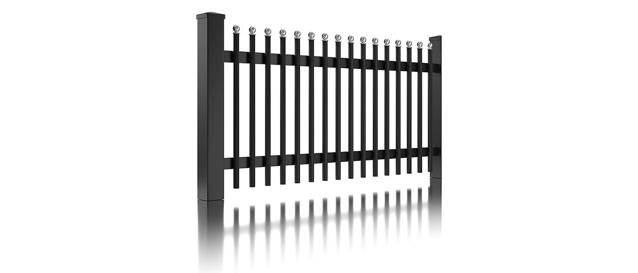 panneau de clôture unique de la clôture à palissade avec barres rondes et embouts ronds couleur anthracite