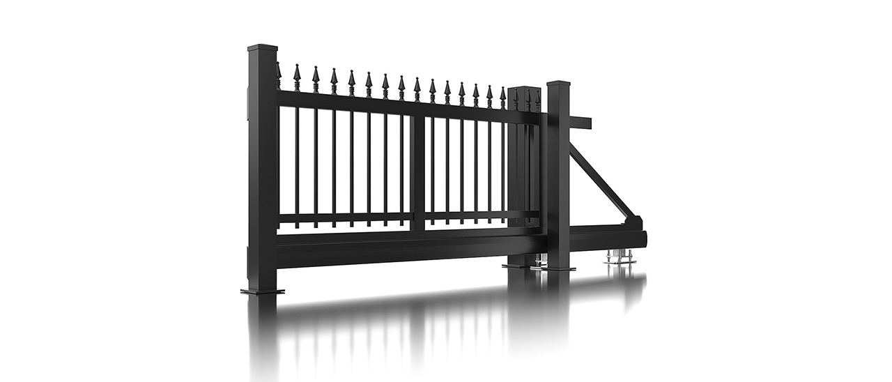 Super-Clôture, Gutenberg, France, clôture fer forgé, clôture, finition martelée, gris, clôture alu, décor, clôtures, classique, portail coulissant, portail